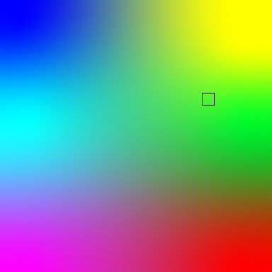 square of a multi-color gradient that shows most colors, with a square showing a green shade