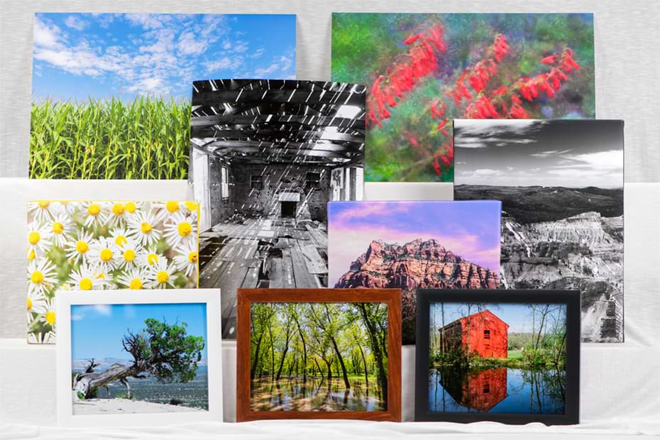collage of prints, framed prints, canvas prints