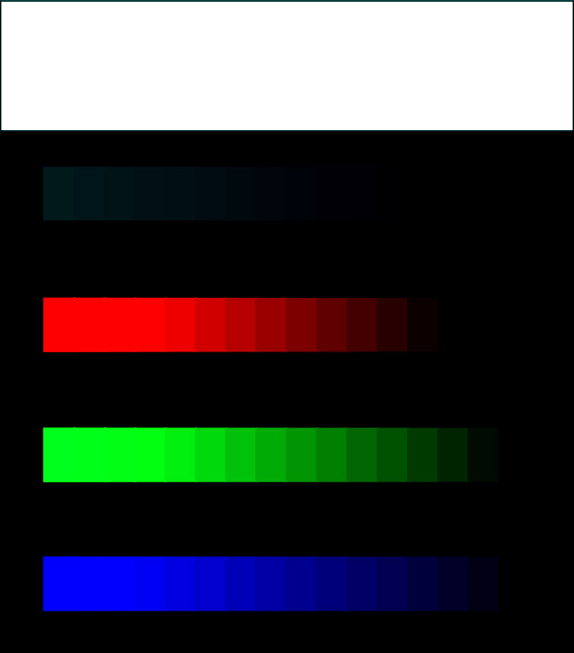 Image of squares of varying colors and brightnesses on a badly out of adjustment monitor