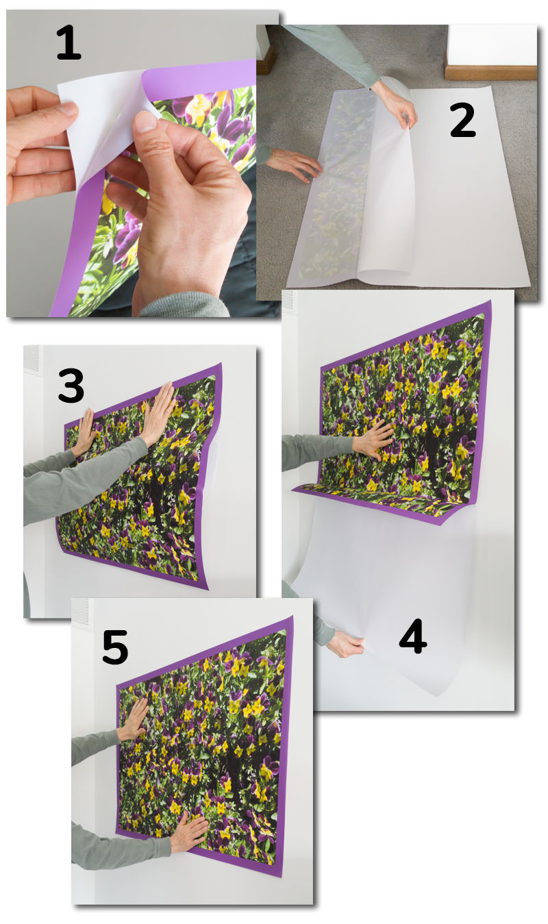 Step-by-step images of how to apply removable fabric