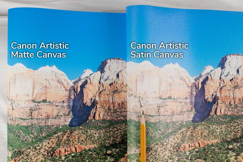 photo of satin and matte canvases