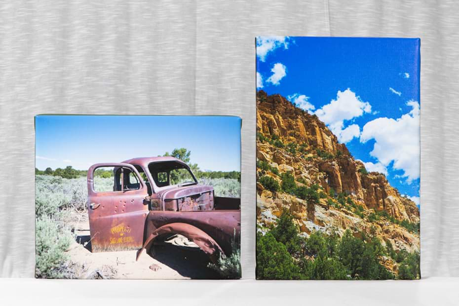 two canvas prints with a fabric backdrop