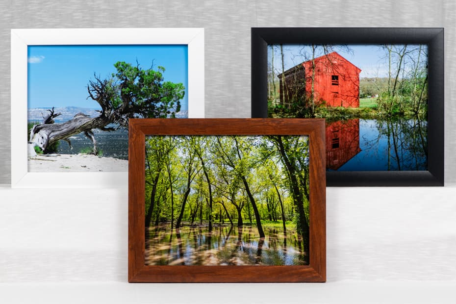 photograph of three framed prints