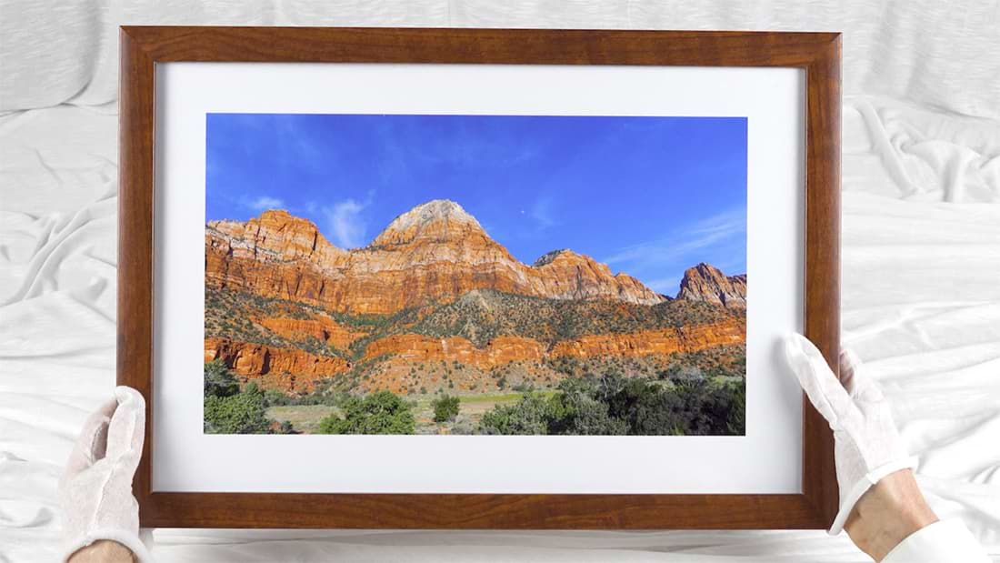 framed giclee print of mountains