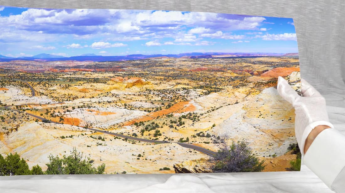 high-resolution panoramic print in hands