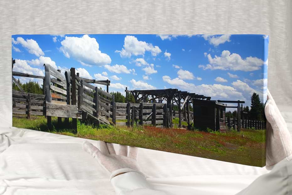Panoramic canvas print of cattle chute in Wyoming