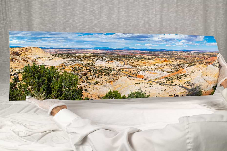 Shown: studio photo of an actual panoramic photo print on fine art paper