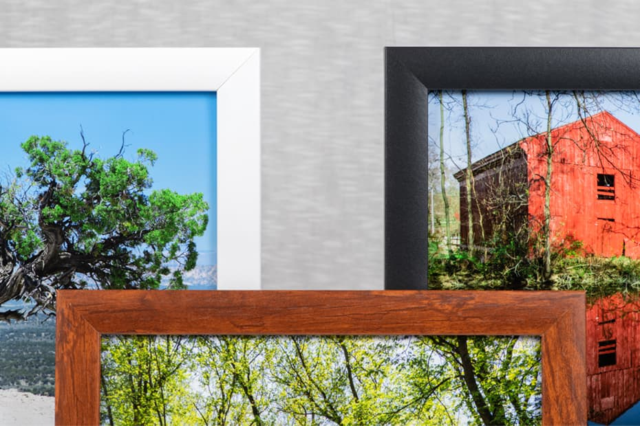 Zoomed-in image of three framed prints